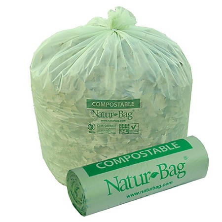 Stalk Market Natur-Bag 0.8-mil Compostable Trash Liners, 55 Gallons, Green, Pack Of 200 Bags