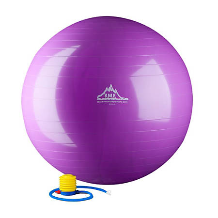 Black Mountain Products 2000 lb Static Strength Stability Ball With Pump, 75cm, Purple