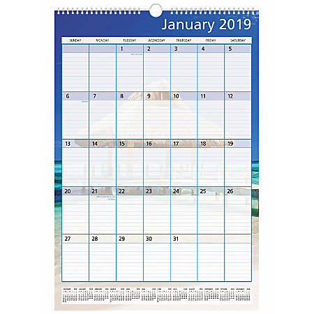 "Office Depot® Brand Monthly Wall Calendar, 15 1/2"" x 22 13/16"", Paradise, January to December 2019"