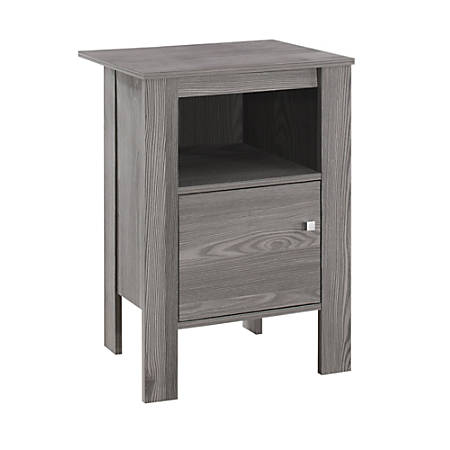 "Monarch Specialties Emiliano Accent Table, 24-1/4""H x 17-1/4""W x 14""D, Gray"
