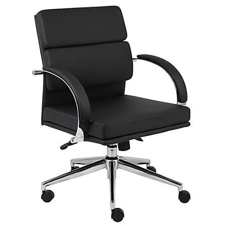 "Boss® Caressoft Plus Mid-Back Executive Chair, 38""H x 28""W x 27""D, Chrome Frame, Black Mock Leather"