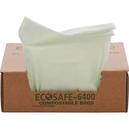 EcoSafe-6400 Compostable Compost Bags, 0.85 mil, 13-Gallon, Green, Box Of 45