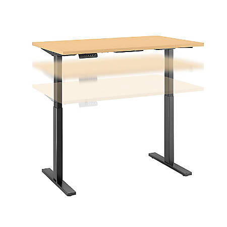 "Bush Business Furniture Move 60 Series 48""W x 24""D Height Adjustable Standing Desk, Natural Maple/Black Base, Premium Installation"