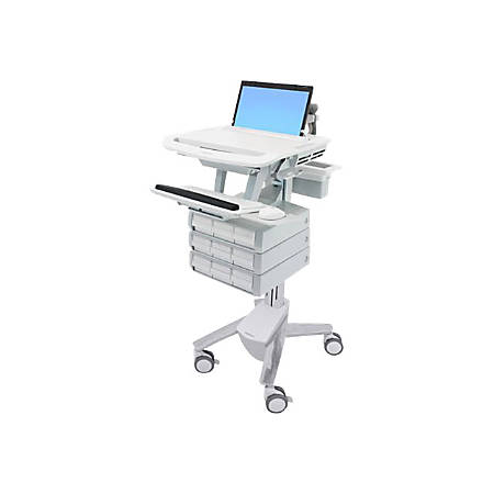 """Ergotron StyleView - Cart for notebook / keyboard / mouse / scanner (open architecture) - medical - plastic, aluminum, zinc-plated steel - gray, white, polished aluminum - screen size: 17.3"""" wide"""