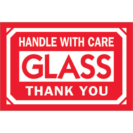 "Tape Logic® Preprinted Labels, DL1062, Glass — Handle With Care — Thank You, Rectangle, 2"" x 3"", Red/White, Roll Of 500"