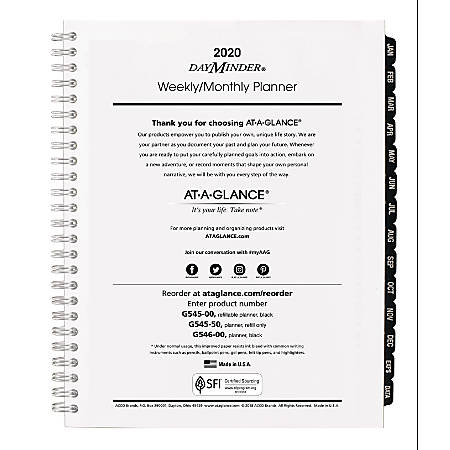 """AT-A-GLANCE® DayMinder® Executive Weekly/Monthly Refill, 7"""" x 8-3/4"""", January To December 2020, G54550"""