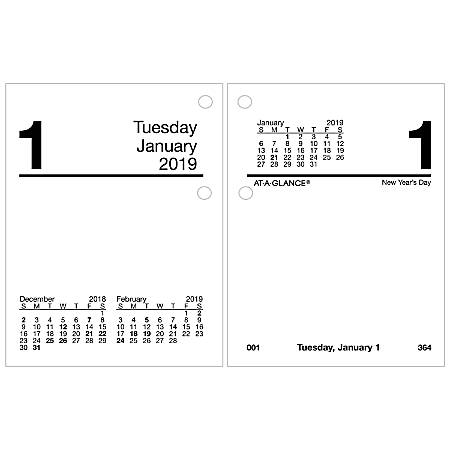 """AT-A-GLANCE® Compact Daily Loose-Leaf Desk Calendar Refill, 3"""" x 3 3/4"""", January to December 2019"""