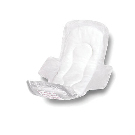 """Medline Sanitary Pads With Adhesive And Wings, 11"""", White, 12 Pads Per Bag, Case Of 24 Bags"""