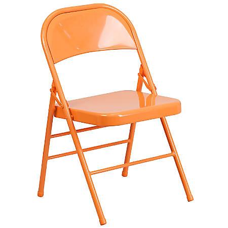 Flash Furniture HERCULES COLORBURST Metal Triple-Braced Folding Chair, Orange Marmalade