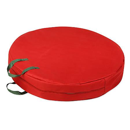 "Honey-Can-Do Wreath Storage Bag, 30""H x 30""W x 5""D, Pine Green/Red"