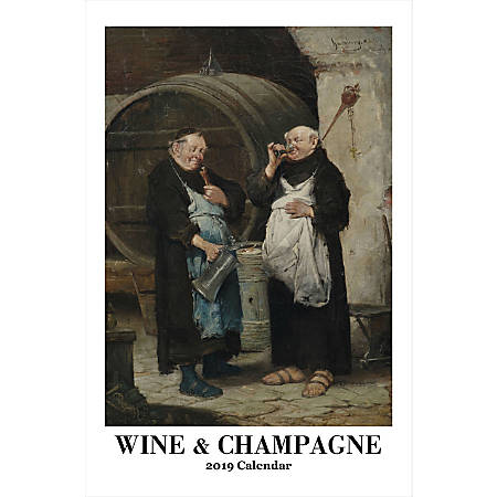 "Retrospect Monthly Wall Calendar, Wine & Champagne, 19-1/4"" x 12-1/2"", Multicolor, January to December 2019"