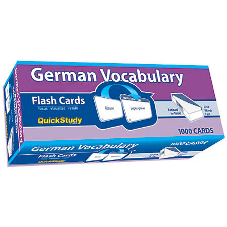 "QuickStudy Flash Cards, 4"" x 3-1/2"", German Vocabulary, Pack Of 1,000 Cards"
