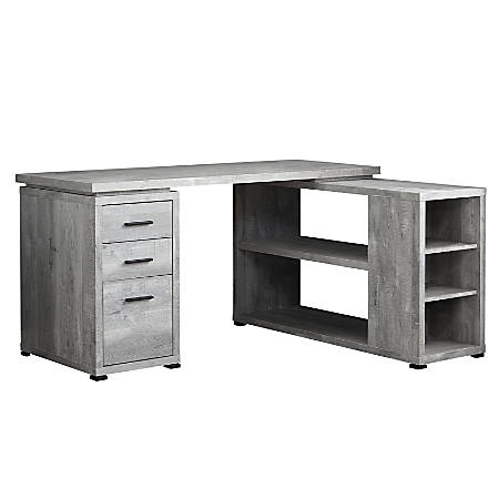 Marvelous Monarch Specialties L Shaped Computer Desk With Bookshelf Gray Woodgrain Item 8411072 Home Interior And Landscaping Eliaenasavecom