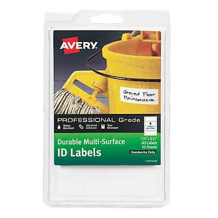"""Avery® Permanent Durable Multi-Surface ID Labels, 61522, 1 1/4"""" x 3 1/2"""", White, Pack Of 40"""