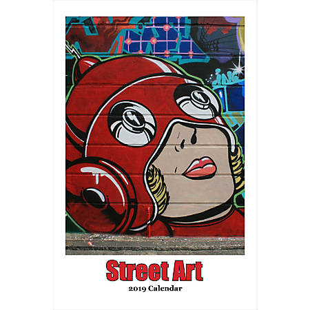 "Retrospect Monthly Wall Calendar, Street Art, 19-1/4"" x 12-1/2"", Multicolor, January to December 2019"