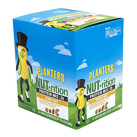 Planters Nut-Rition Honey Nut Protein Mix, 1.66 Oz, Box Of 12 Pouches