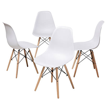 Mid-century modern dining chair; White plastic seat and chair back; Metal legs with beech wood covering; Criss-cross metal support design between the legs