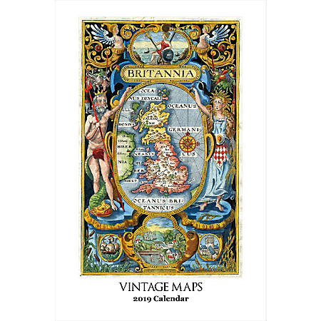 """Retrospect Monthly Wall Calendar, Vintage Maps, 19-1/4"""" x 12-1/2"""", Multicolor, January to December 2019"""