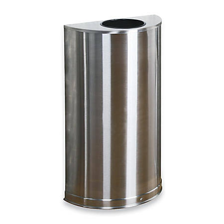 "United Receptacle 30% Recycled Half Round Open-Top Steel Receptacle, 12 Gallons, 32"" x 18"" x 9"", Stainless Steel"