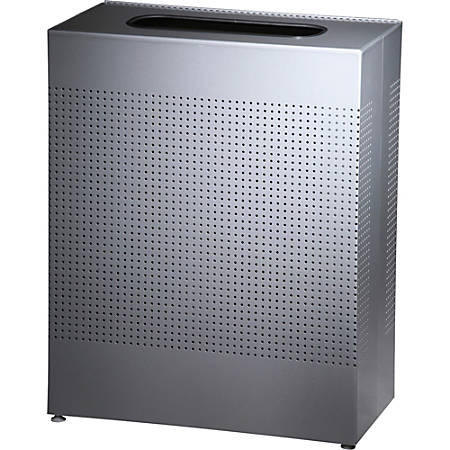 """United Receptacle 30% Recycled Metallic Rectangle Waste Can, 22.5 Gallons, 30"""" x 12 1/2"""" x 24"""", Silver Metal"""