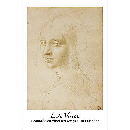 "Retrospect Monthly Wall Calendar, Leonardo da Vinci Drawings, 19-1/4"" x 12-1/2"", Multicolor, January to December 2019"