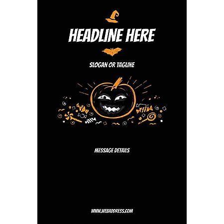 Adhesive Sign, Black Halloween, Vertical