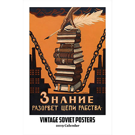 """Retrospect Monthly Wall Calendar, Vintage Soviet Posters, 19-1/4"""" x 12-1/2"""", Multicolor, January to December 2019"""