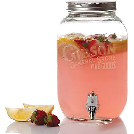 Gibson Home General Store 1GL Mason Beverage Dispenser - 1 gal - Glass, Metal - Clear