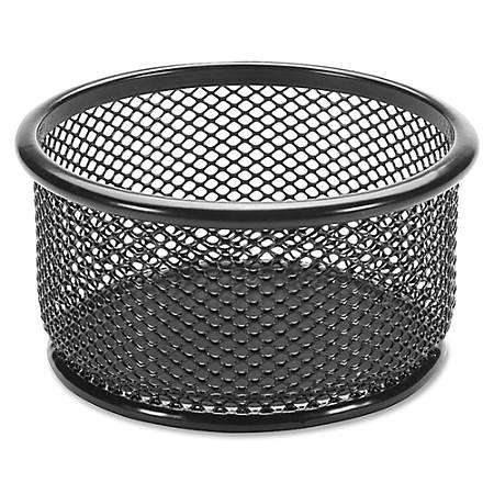 Lorell® Mesh Round Paper Clip Holder, Black