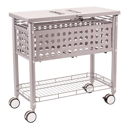 "Vertiflex® File Cart With Locking Top, 29""H x 13 3/4""W x 28 1/4""D, Gray"