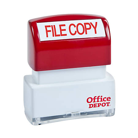"""Office Depot® Brand Pre-Inked Message Stamp, """"File Copy"""", Red"""