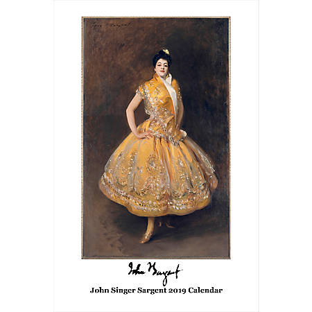 "Retrospect Monthly Wall Calendar, John Singer Sargent, 19-1/4"" x 12-1/2"", Multicolor, January to December 2019"