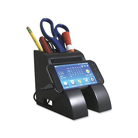 """Victor® Midnight Black Collection Smart Charge Pencil Cup With USB Hub, 4"""" x 5 1/2"""" x 5"""", Black"""