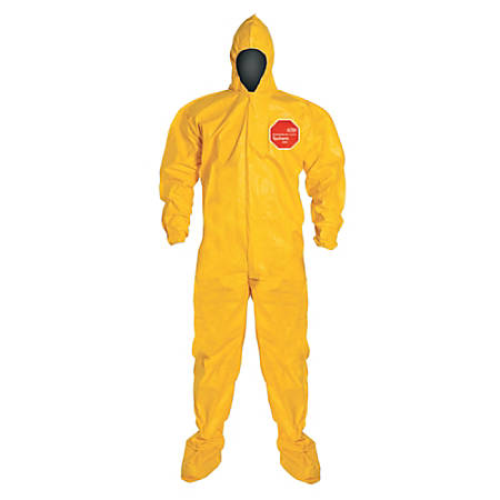 DuPont Tychem 2000 Tyvek® Coveralls With Attached Hood And Socks, 2X, Yellow, Case Of 12 Coveralls