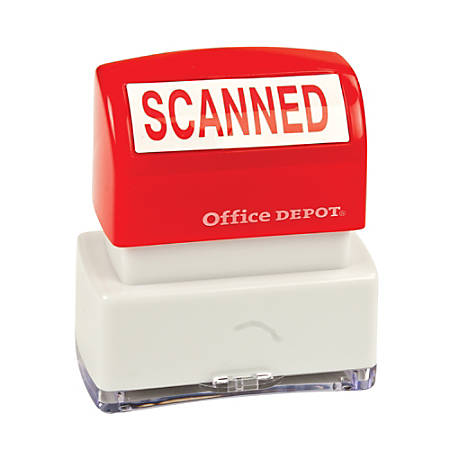 "Office Depot® Brand Pre-Inked Message Stamp, ""Scanned"", Red"