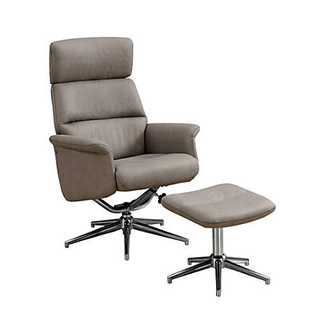 Monarch Specialties Swivel Recliner Chair And Ottoman Set, Taupe/Chrome