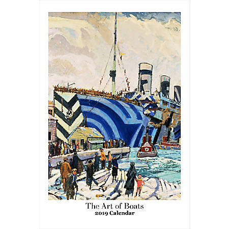 "Retrospect Monthly Wall Calendar, The Art Of Boats, 19-1/4"" x 12-1/2"", Multicolor, January to December 2019"