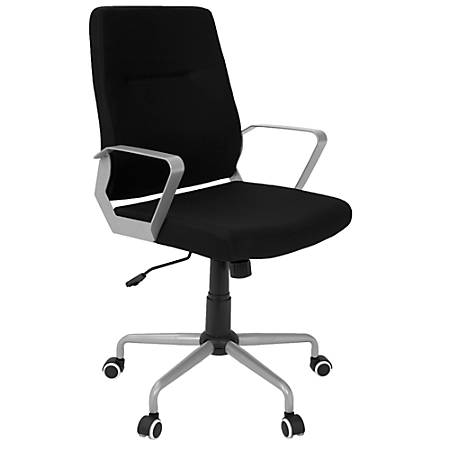 LumiSource Zip Fabric High-Back Office Chair, Black/Silver
