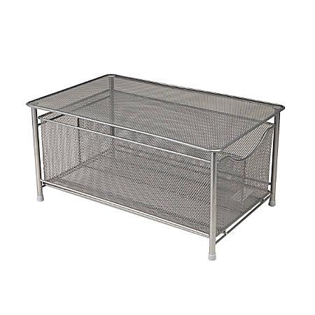 "Mind Reader Platform-Top Storage Basket With Sliding Drawer, 7 1/2""H x 9 3/8""W x 15 3/8""D, Silver"