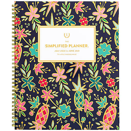 """AT-A-GLANCE® Emily Ley Simplified Academic Weekly/Monthly Planner, 8-1/2"""" x 11"""", Gold Foil Floral, July 2020 to June 2021, EL401-905A"""