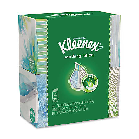 Kleenex Lotion Facial Tissue - 2 Ply - White - Soft - For Face - 75 Sheets Per Box - 32 / Carton