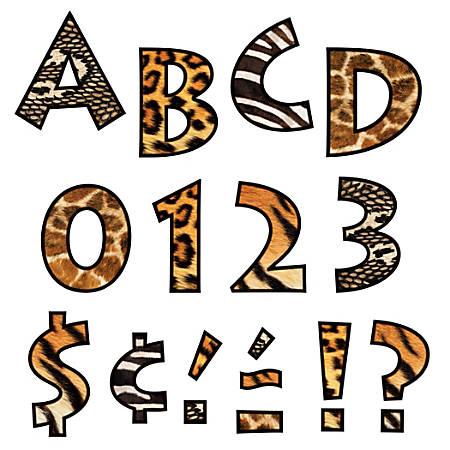 "TREND Ready Letters®, Venture, 4"", Animal Print, Pre-K - Grade 12, Pack Of 92"