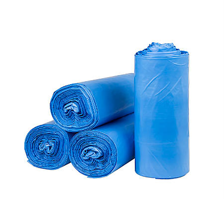 """Inteplast LLDPE Can Liners, 1.25 mil, 30"""" x 36"""", Blue, Pack Of 200 Liners"""