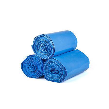 "Inteplast LLDPE Can Liners, 1.3 mil, 30"" x 45"", Blue, Pack Of 200 Liners"