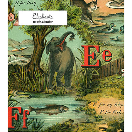 "Retrospect Monthly Desk Calendar, Elephants, 6-1/4"" x 5-1/4"", Multicolor, January to December 2019"