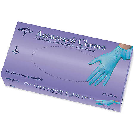 Accutouch Chemo Disposable Powder-Free Nitrile Exam Gloves, Large, Blue, 100 Gloves Per Box, Case Of 10 Boxes