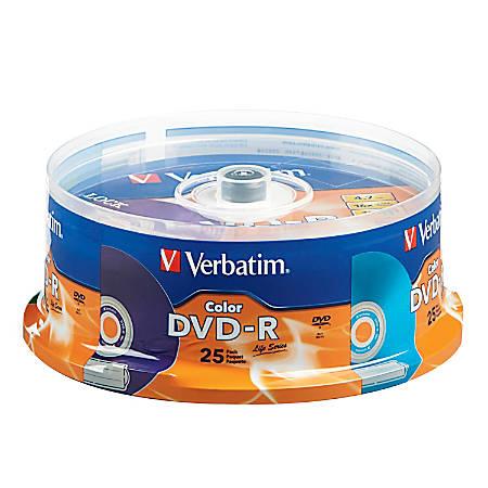 Verbatim® Life Series DVD-R Discs, Assorted Colors, Pack Of 25