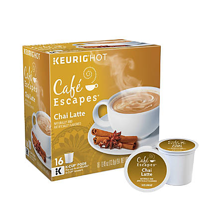 Cafe Escapes™ Chai Latte Coffee Single-Serve K-Cup®, Carton Of 16