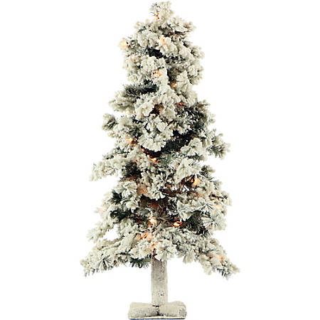 Fraser Hill Farm Artificial Snowy Alpine Trees With Clear Lights, 2'