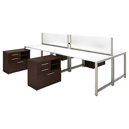 "Bush Business Furniture 400 Series 4-Person Workstation With Table Desks And Storage, 60""W x 30""D, Mocha Cherry/White, Premium Installation"